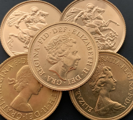Bullion Gold Sovereigns  Quantity 5  Payment via Bank Transfer Only